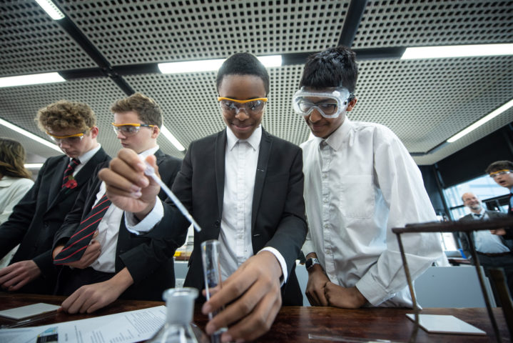 Pupils study Chemistry at A-level in Sixth Form at Magdalen College School