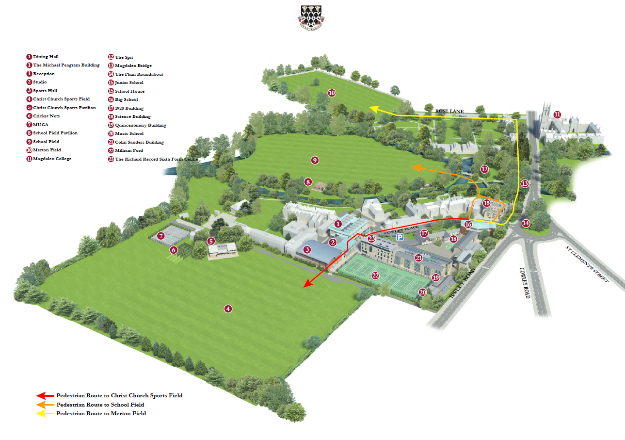 Map of Magdalen College School Oxford