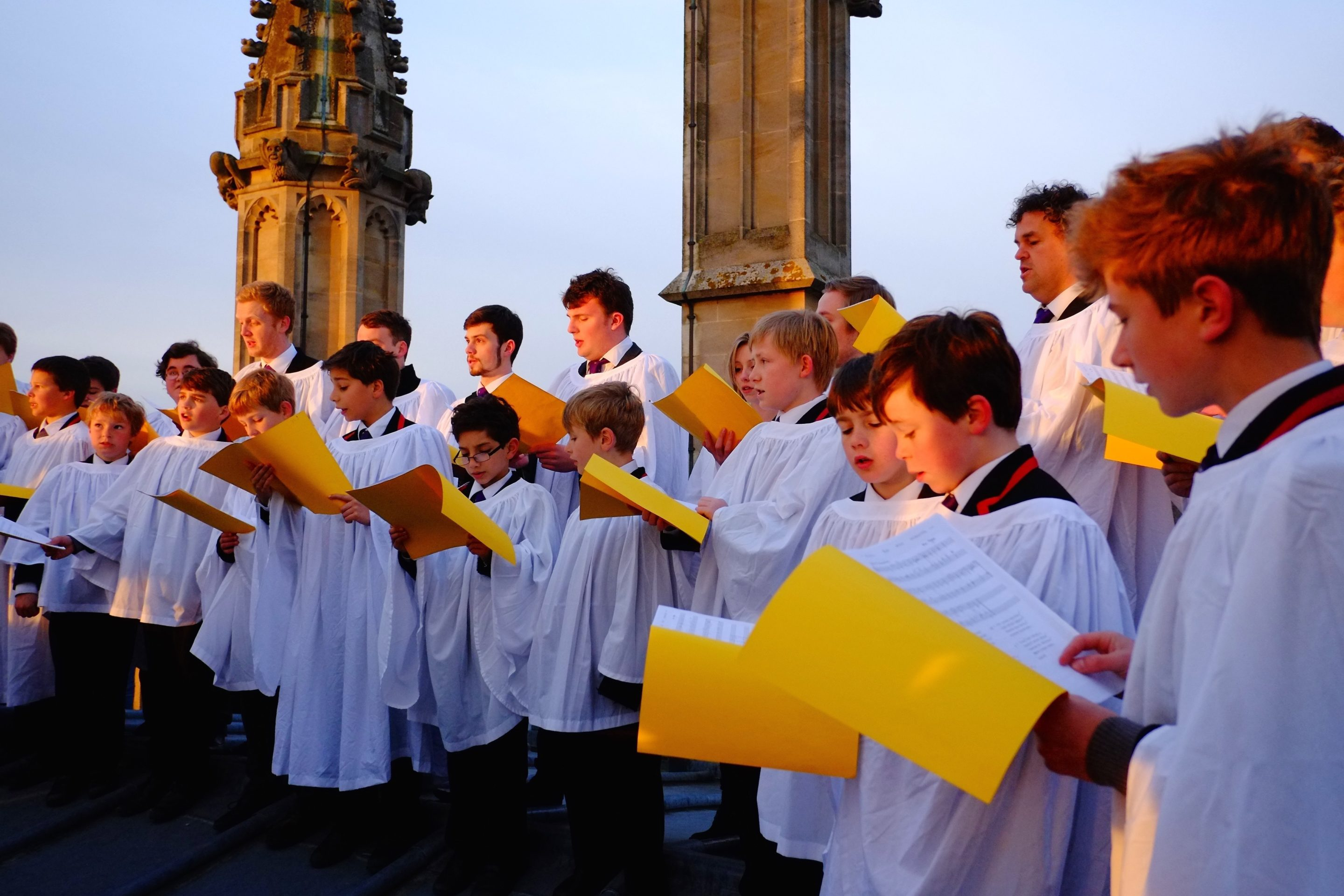 Magdalen College School Choristers singing on May Morning