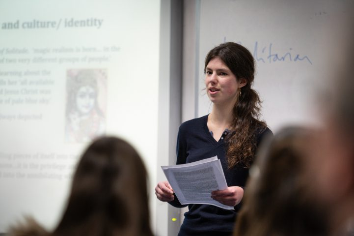 Pupil presenting Theology project at Magdalen College School