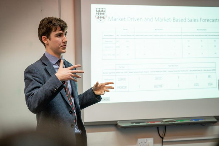 MCS pupil giving a lecture at Waynflete Studies Evening
