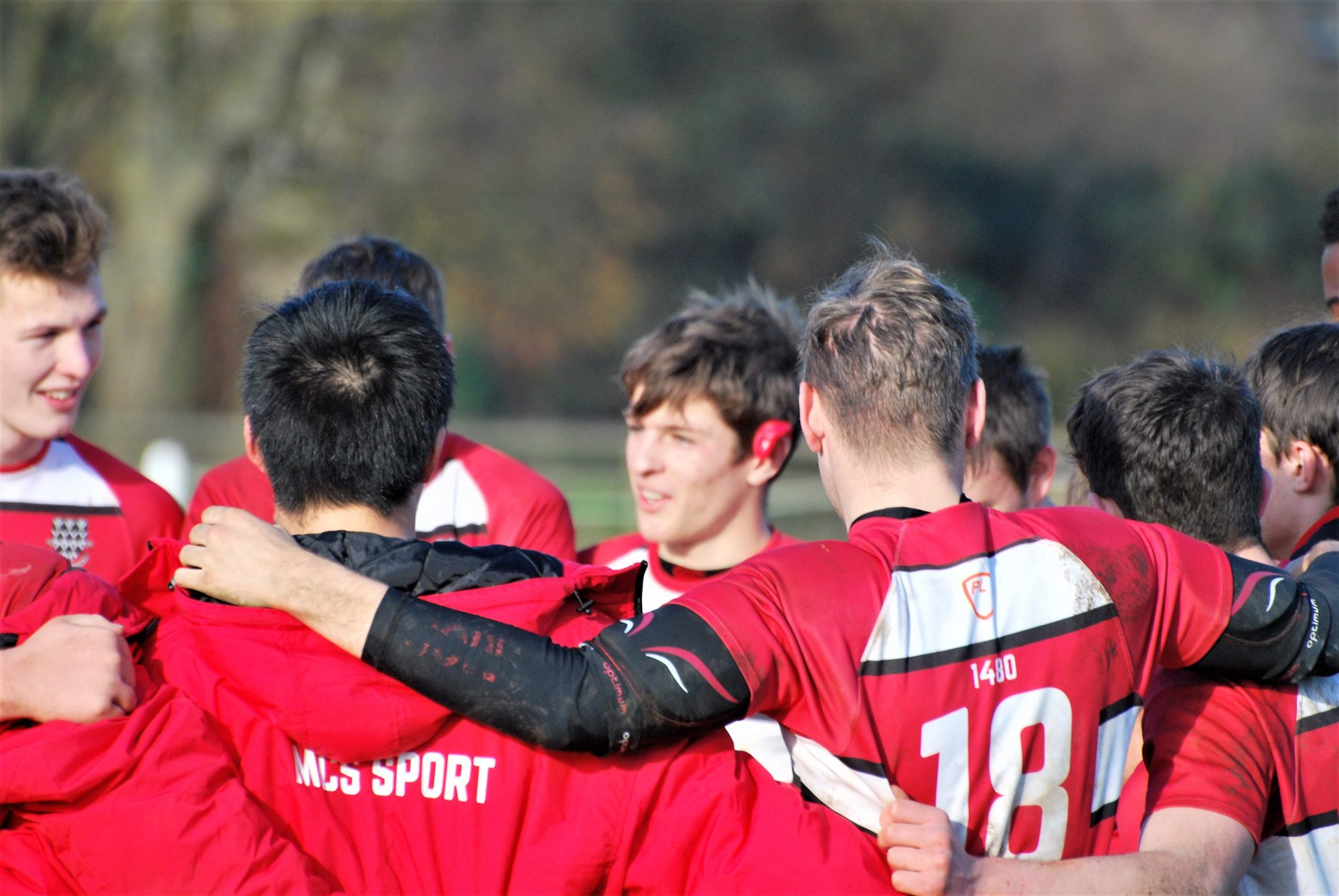 Sixth Form Magdalen College School pupils play rugby