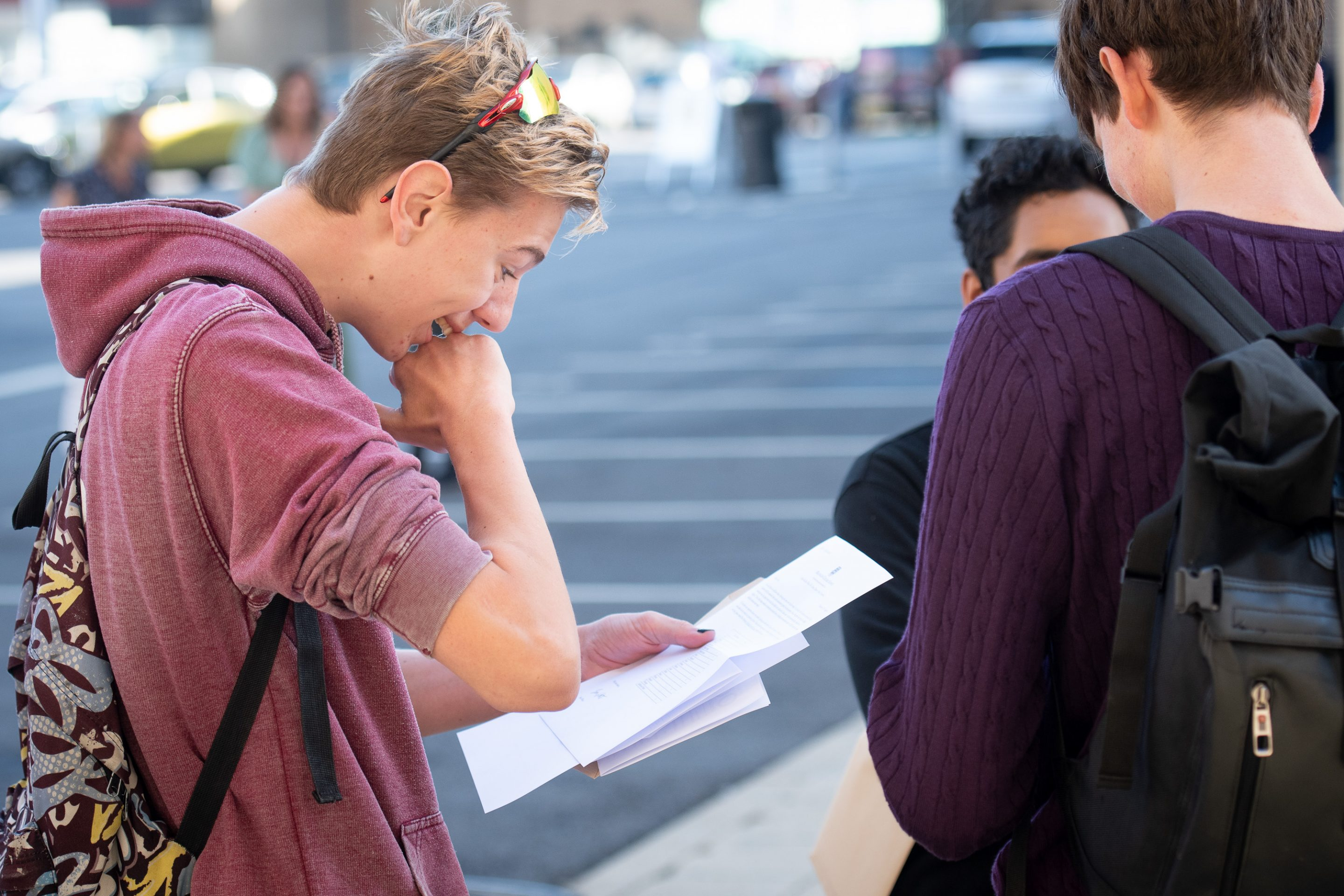 Pupil Receiving GCSE Exam Results At Magdalen College School Oxford
