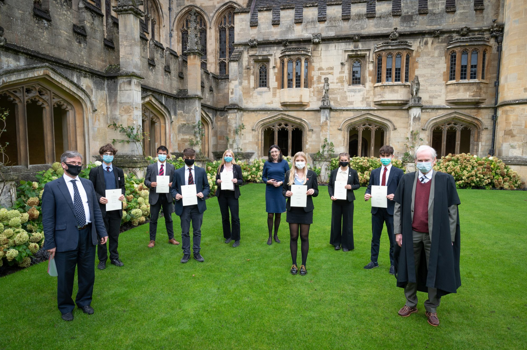 Magdalen College School pupils receiving Waynflete Studies Certificates 2020
